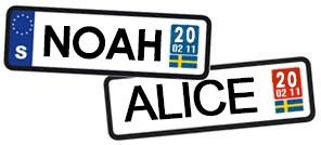 Populäraste namnen 2020 - ALICE & NOAH